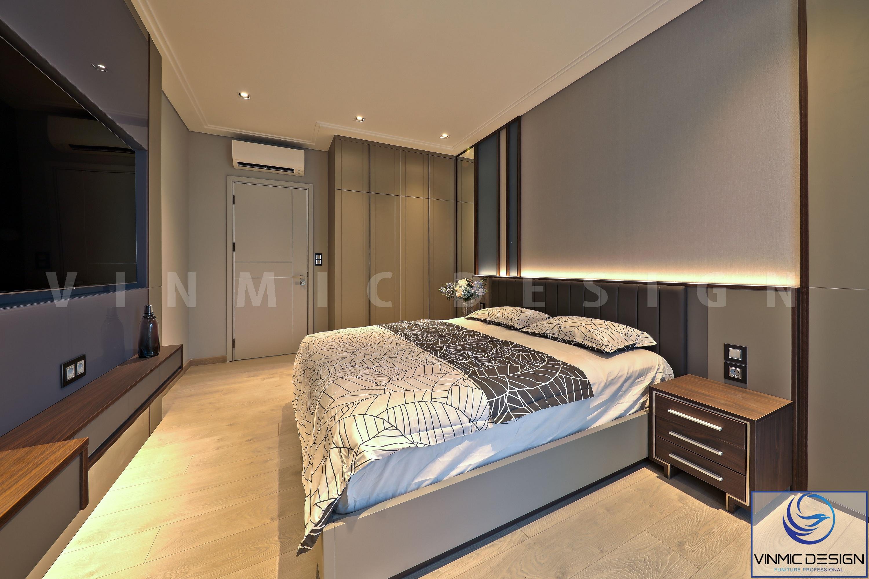 Không gian phòng ngủ ấm cúng nhờ hệ thống đèn cao cấp