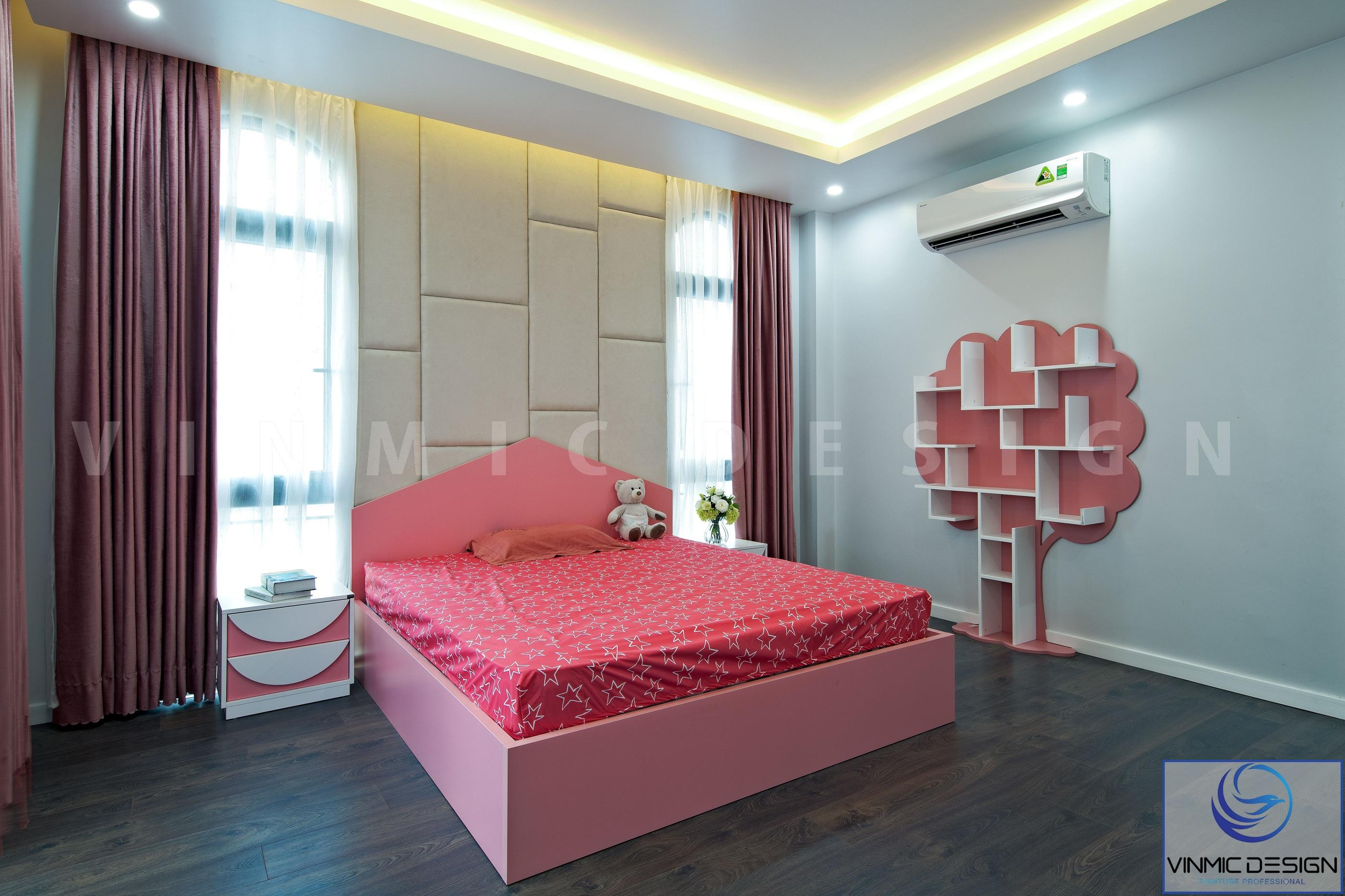 Không gian phòng ngủ bé gái với sắc đỏ đẹp mắt
