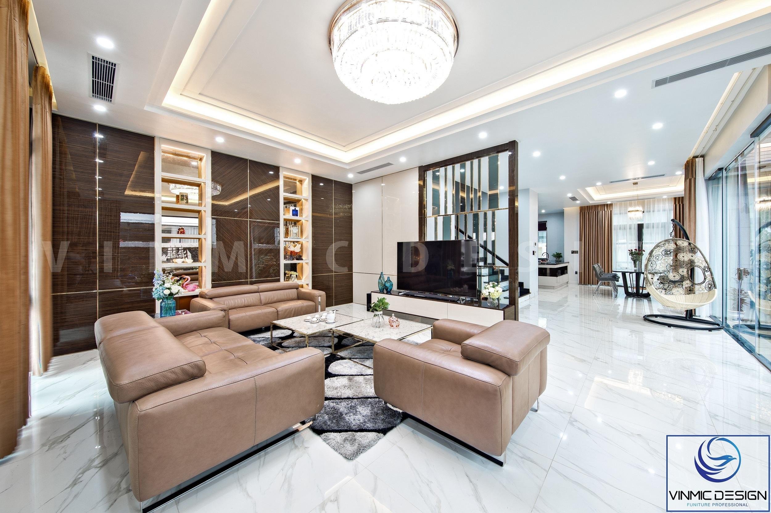 Phòng khách được thi công với phong cách hiện đại tạo nên một không gian thoáng đãng