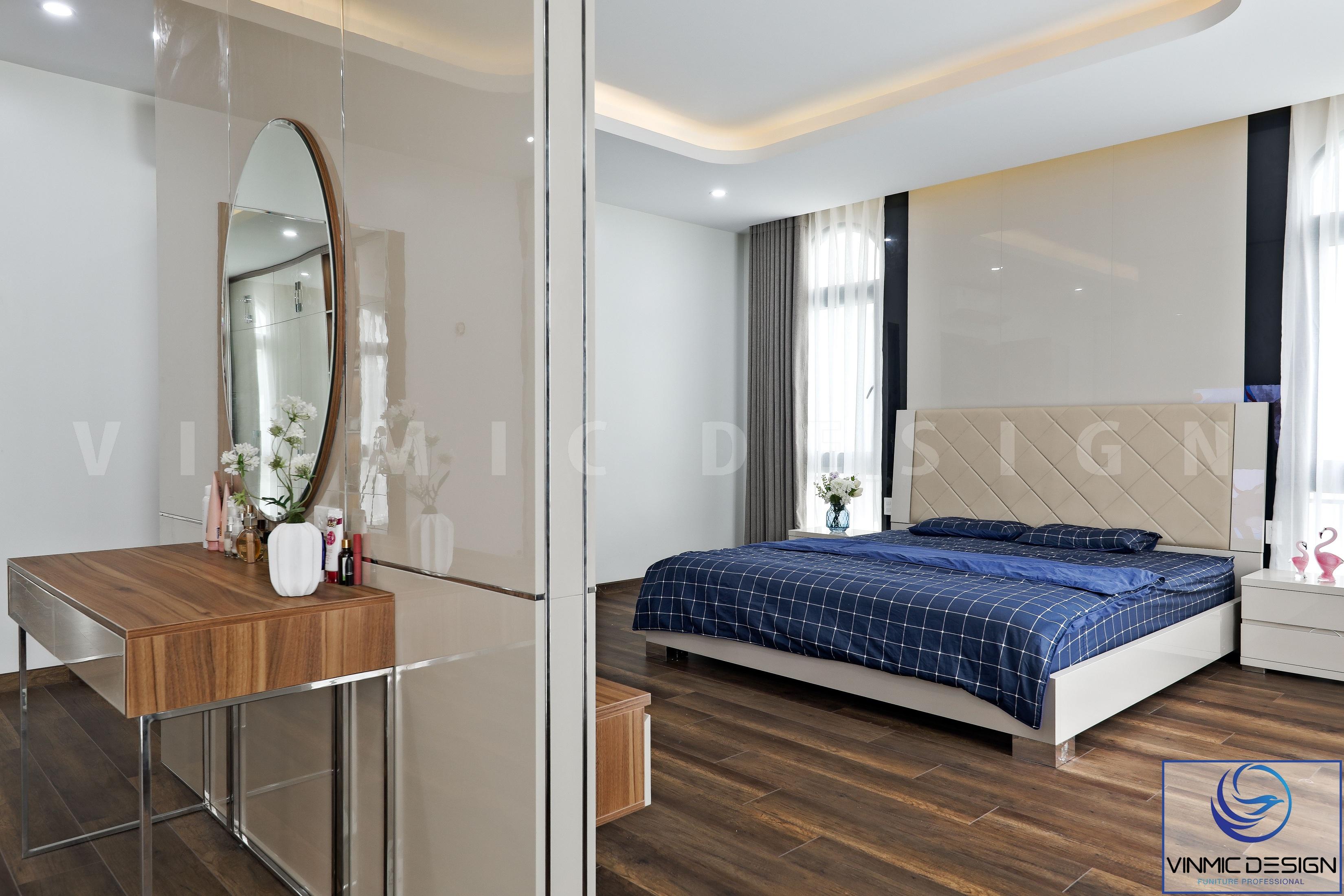 Phòng ngủ master được chúng tôi thi công chất liệu gỗ công nghiệp, đơn giản và hiệu quả công năng