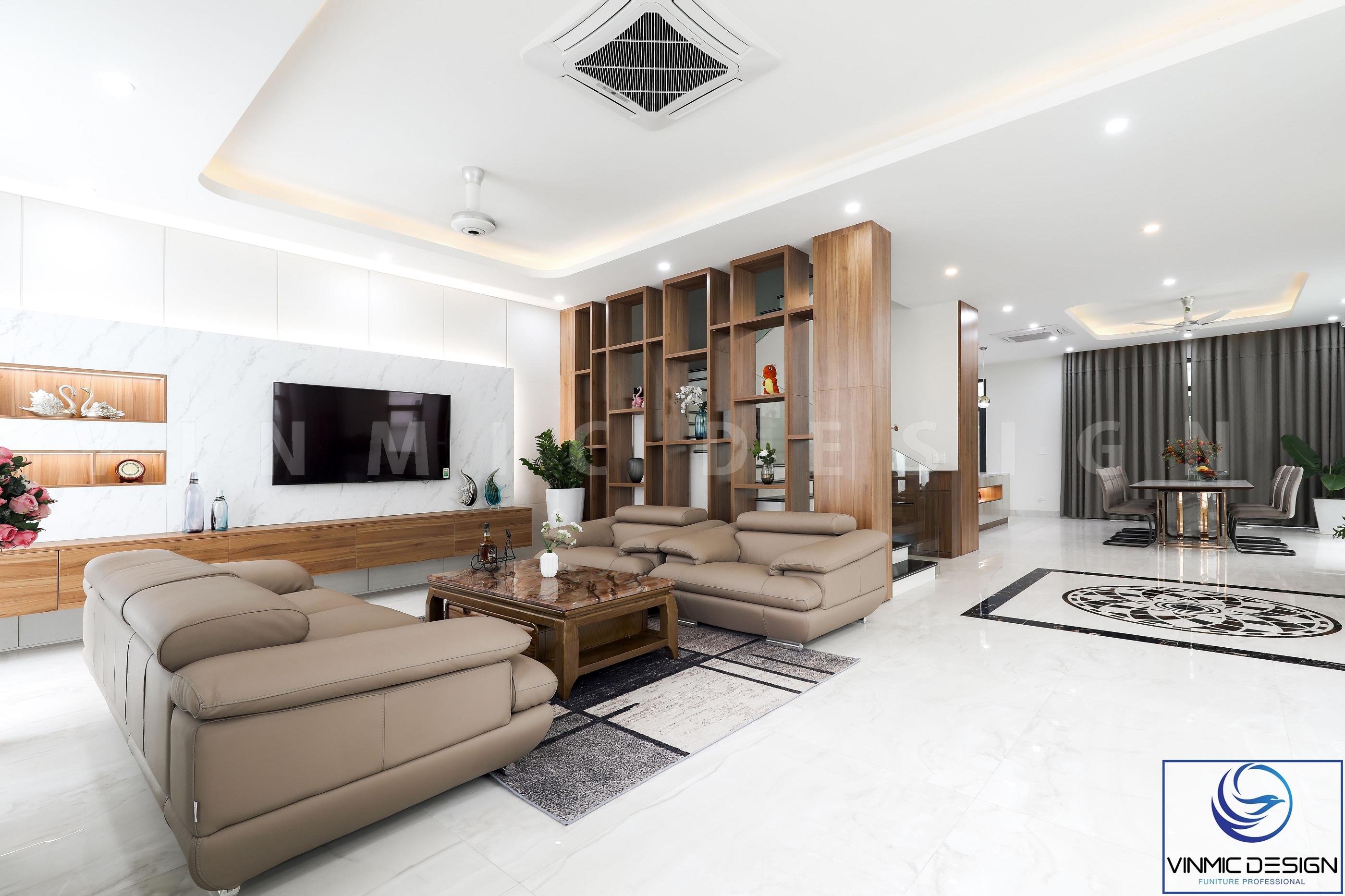 Phòng khách được thi công với phong cách hiện đại và đơn giản