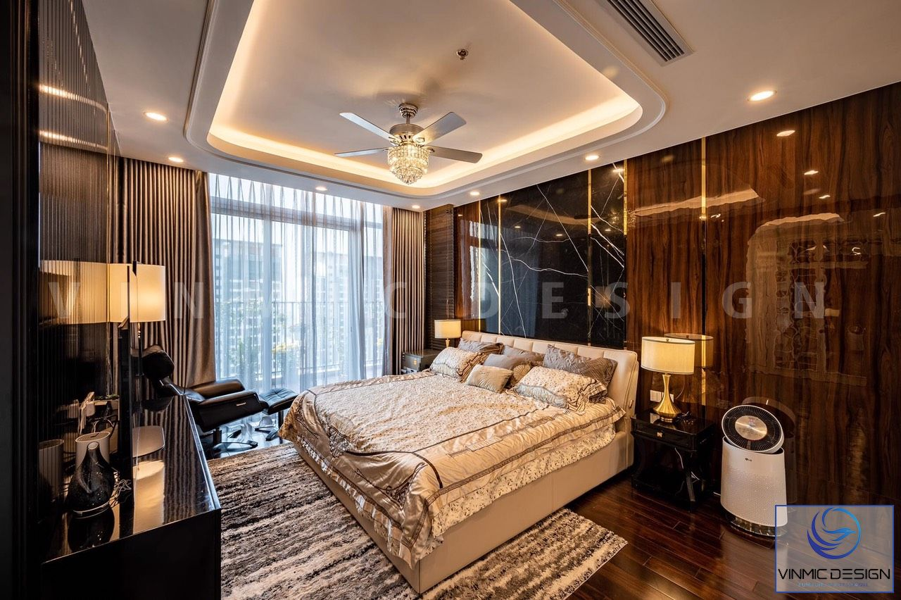 Phòng ngủ được thi công với gọn gàng và hiện đại
