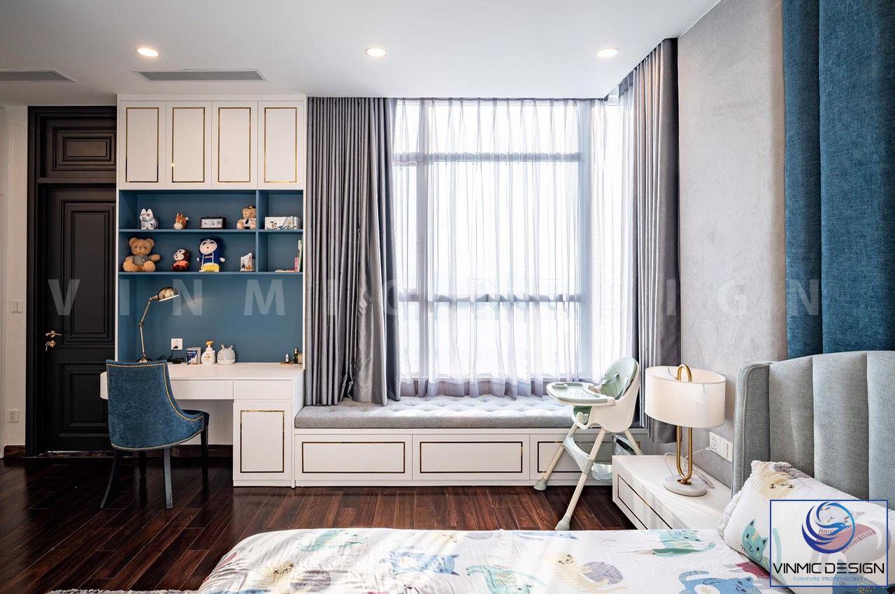 Phòng ngủ của bé trai được thi công với tông màu trắng xanh tươi mới