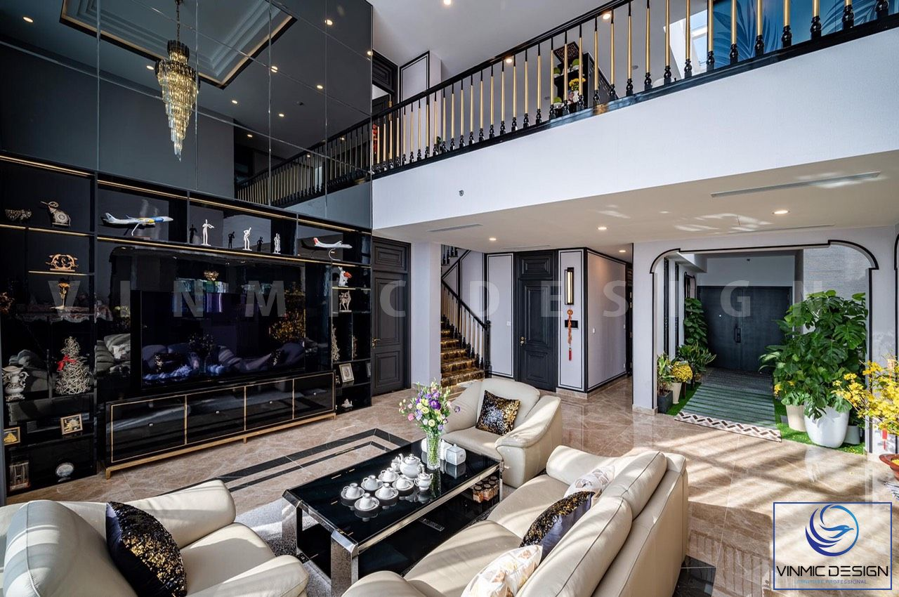 Không gian phòng khách được bố trí sắp xếp nội thất gọn gàng
