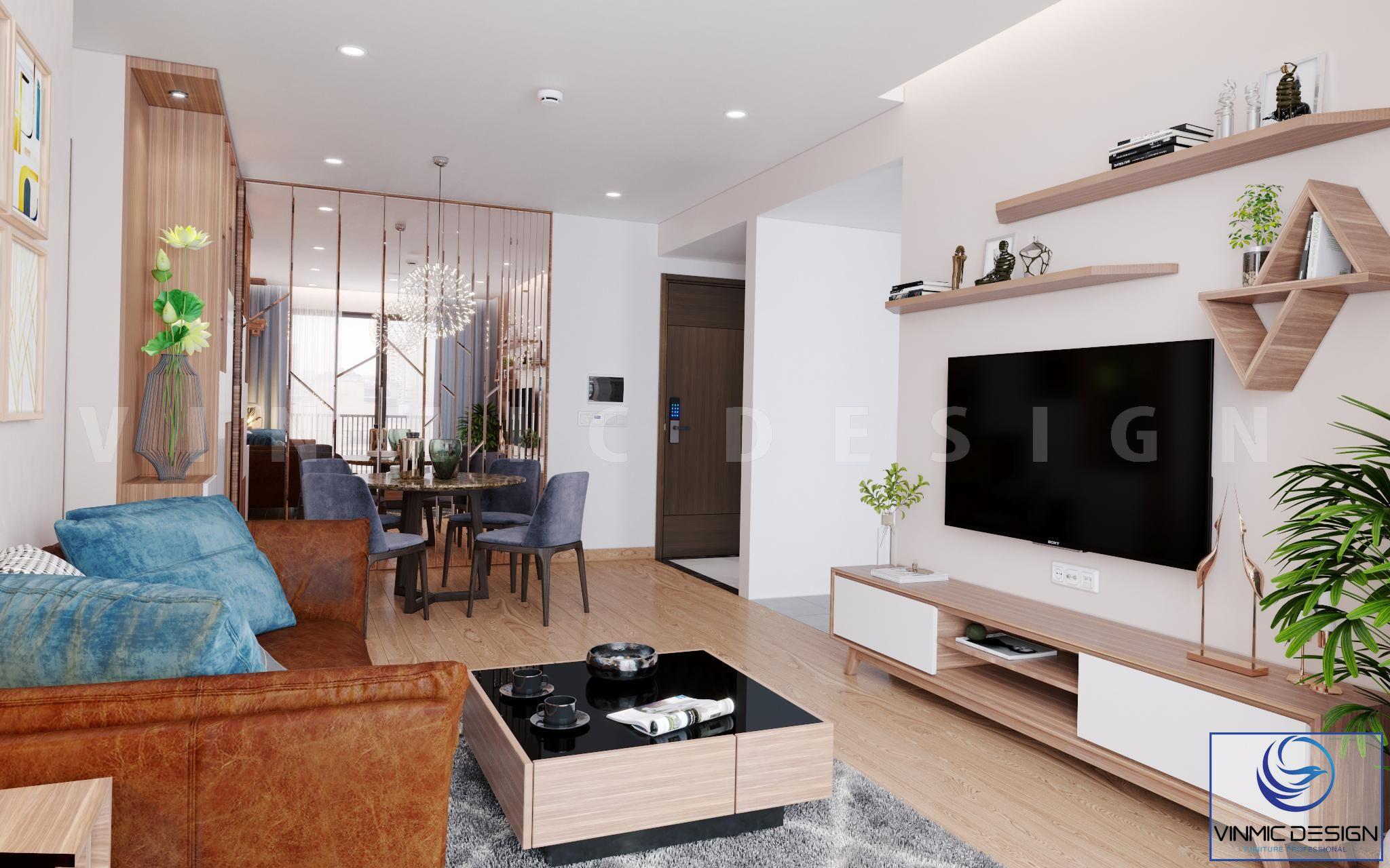 Kệ tivi phòng khách được làm chất liệu gỗ công nghiệp