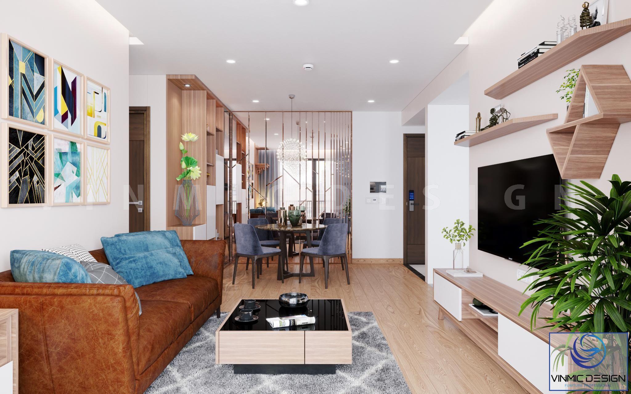 Thiết kế nội thất phòng khách liên thông phòng ăn