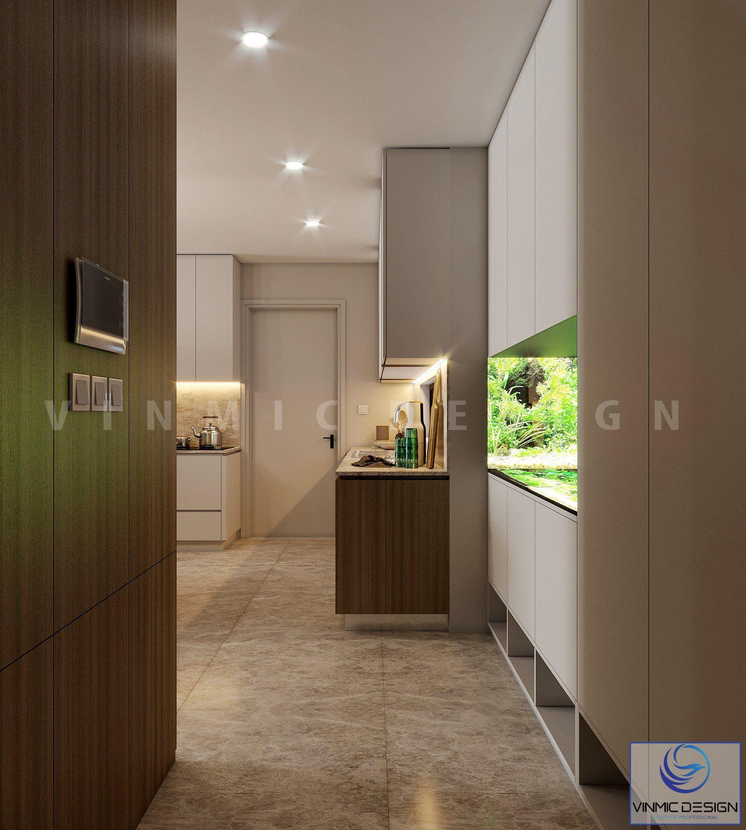 Phòng khách được thiết kế tủ để giày