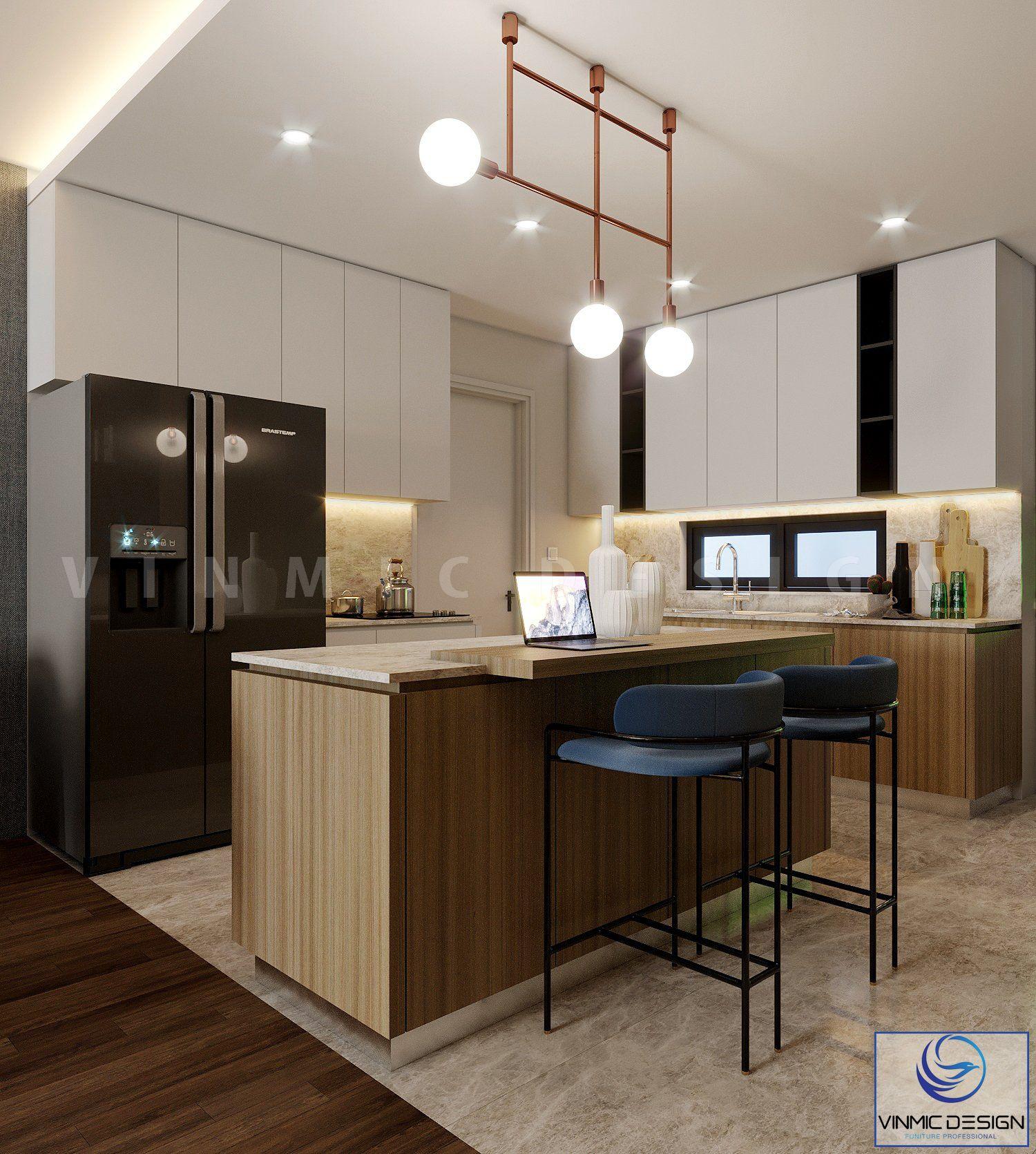 Không gian phòng bếp được sắp xếp công năng hợp lý
