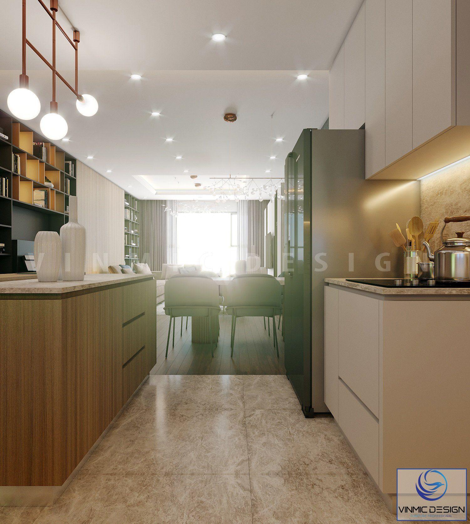Màu sắc không gian phòng bếp hài hòa