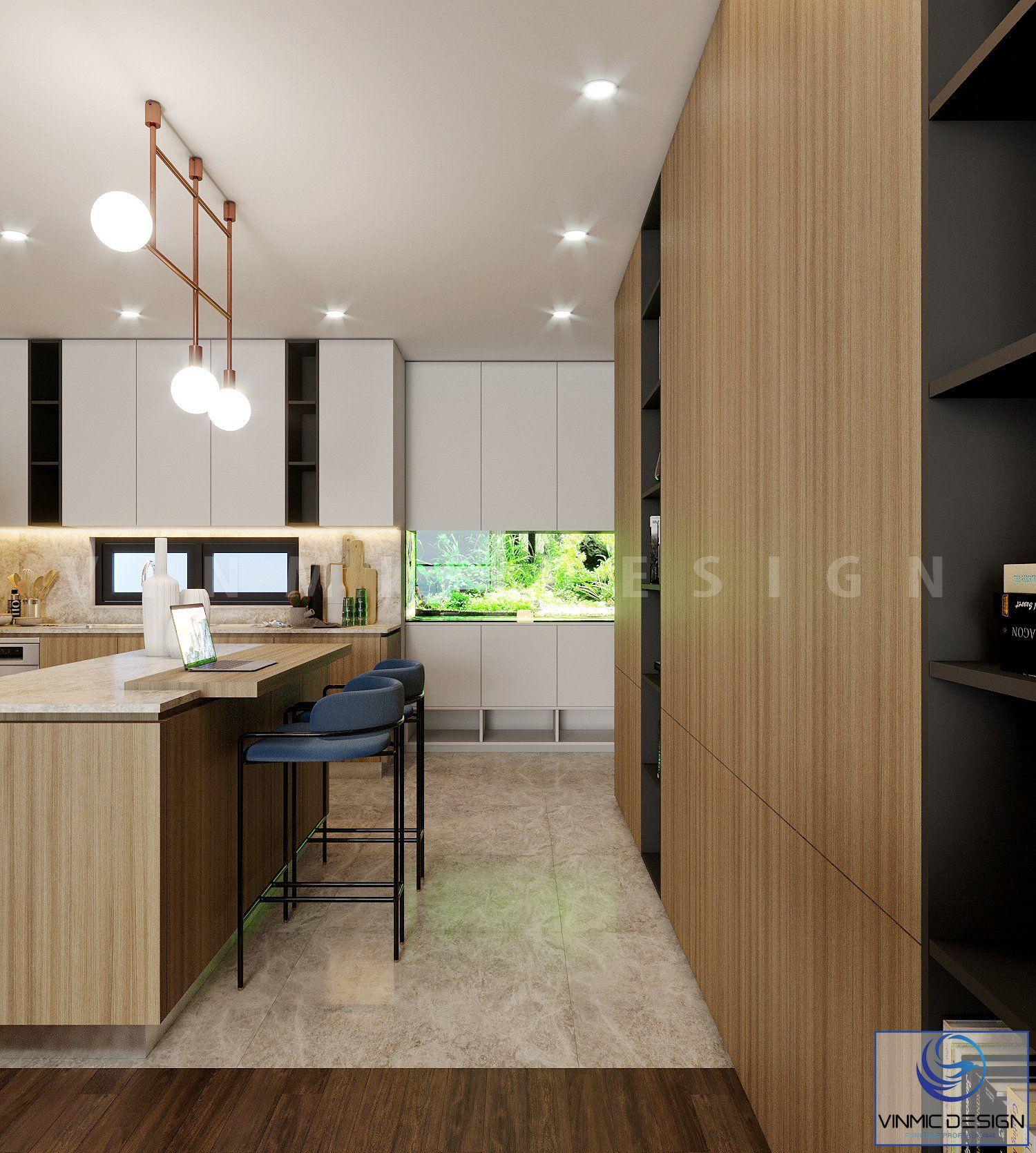 Một góc phòng bếp với cửa chính