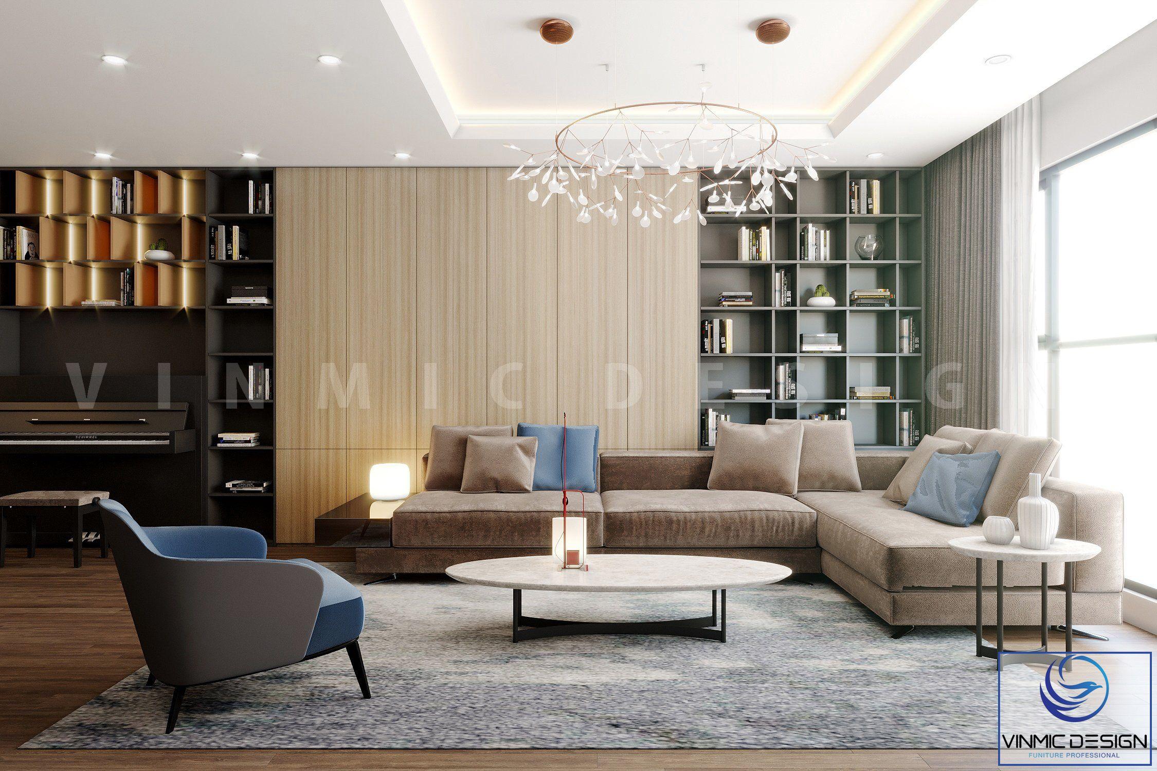 Thiết kế phòng khách với sự nổi bật từ bộ sofa