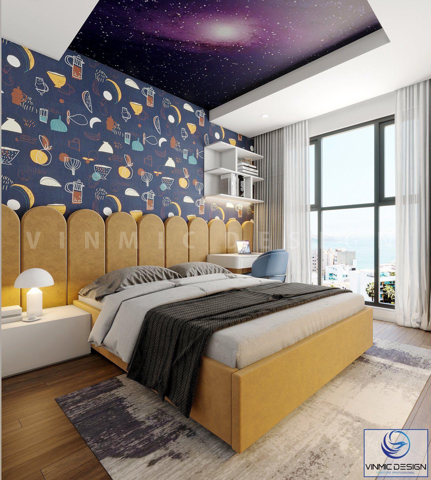 Thiết kế phòng ngủ cho bé nổi bật bởi bộ giấy gián tường