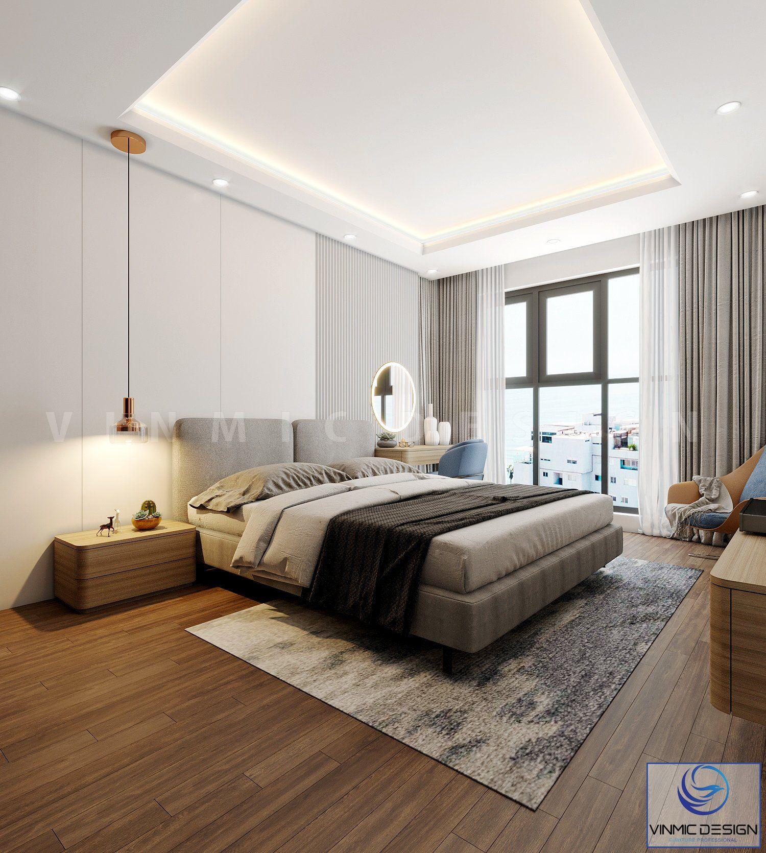 Thiết kế nội thất phòng ngủ nổi bật với bộ giường nỉ cao cấp