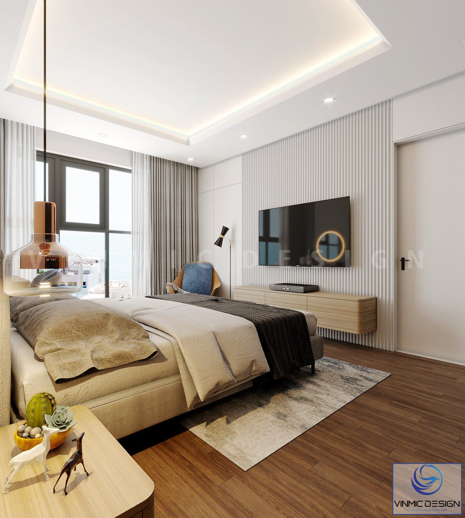 Phòng ngủ được sử dụng vật liệu gỗ công nghiệp