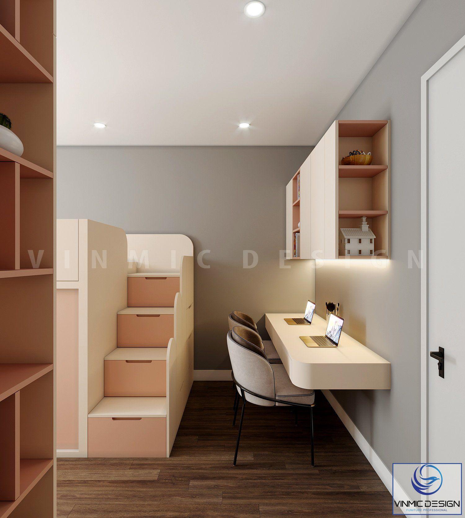 Bộ bàn học được thiết kế tối ưu diện tích phòng