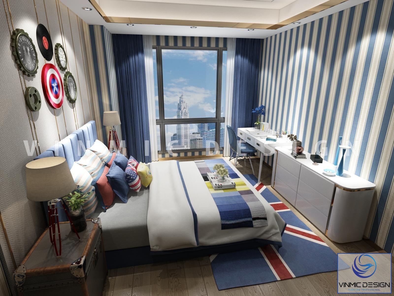 Thiết kế nội thất phòng ngủ cho bé trai đầy hoài bão, ước mơ bay xa