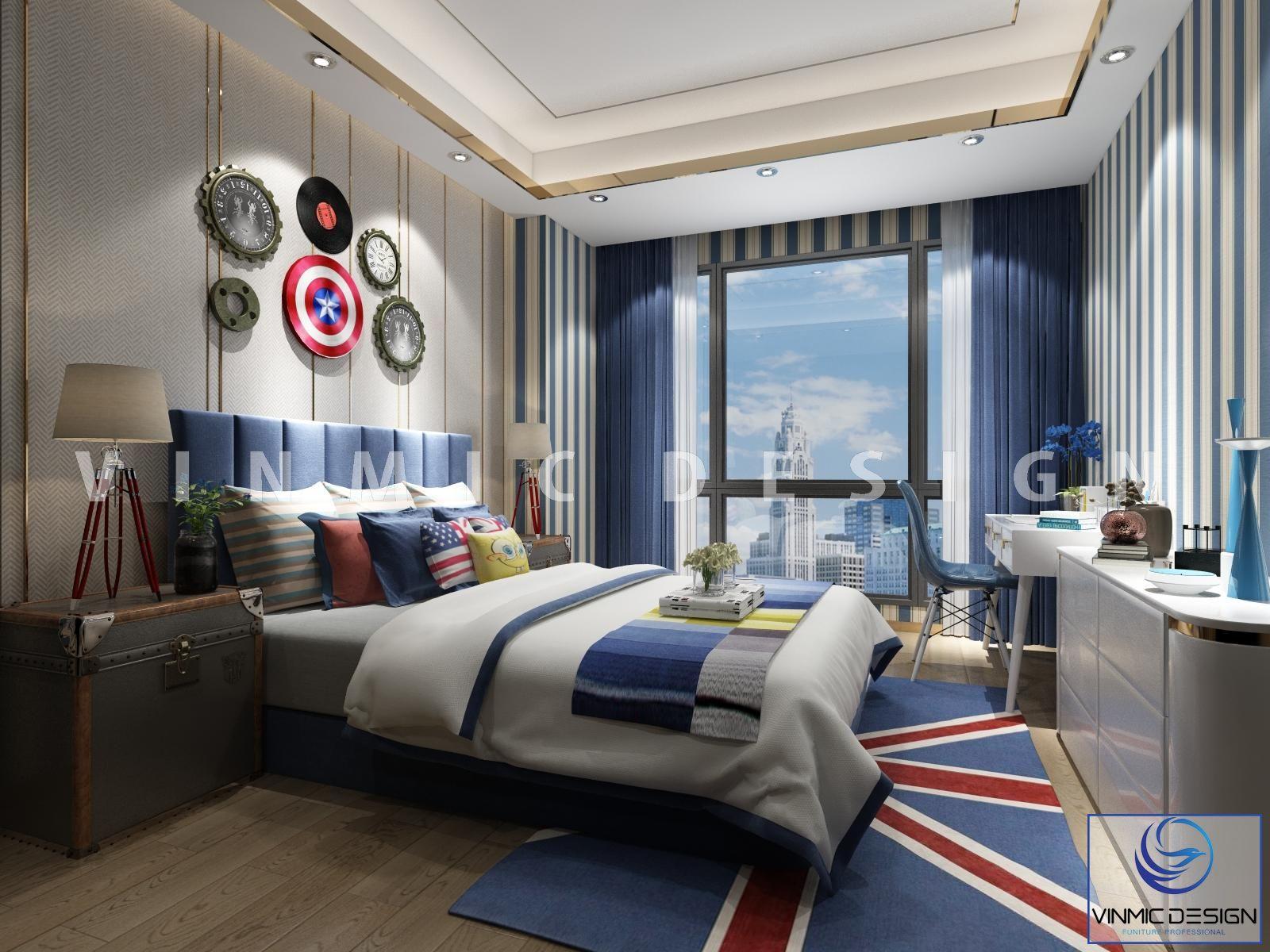 Thiết kế nội thất phòng ngủ cho bé với những biểu tượng thế giới đầy hoài bão