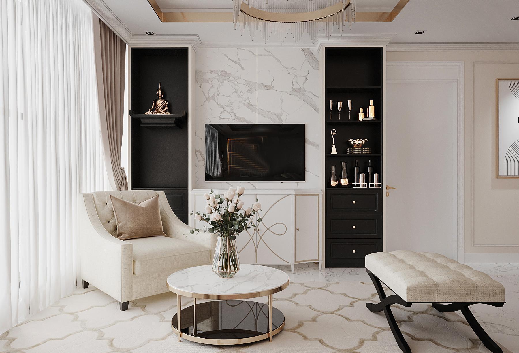 Thiết kế kệ tivi phong cách tân cổ điển cho căn hộ có diện tích nhỏ