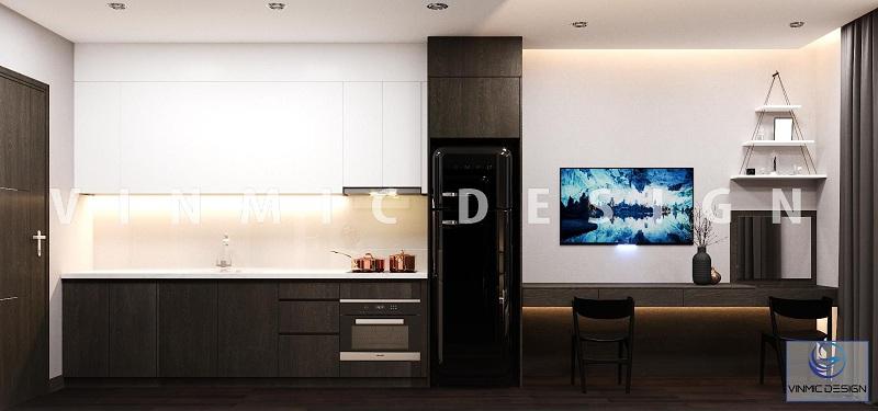 Thiết kế kệ tivi cho căn hộ Studio đẹp