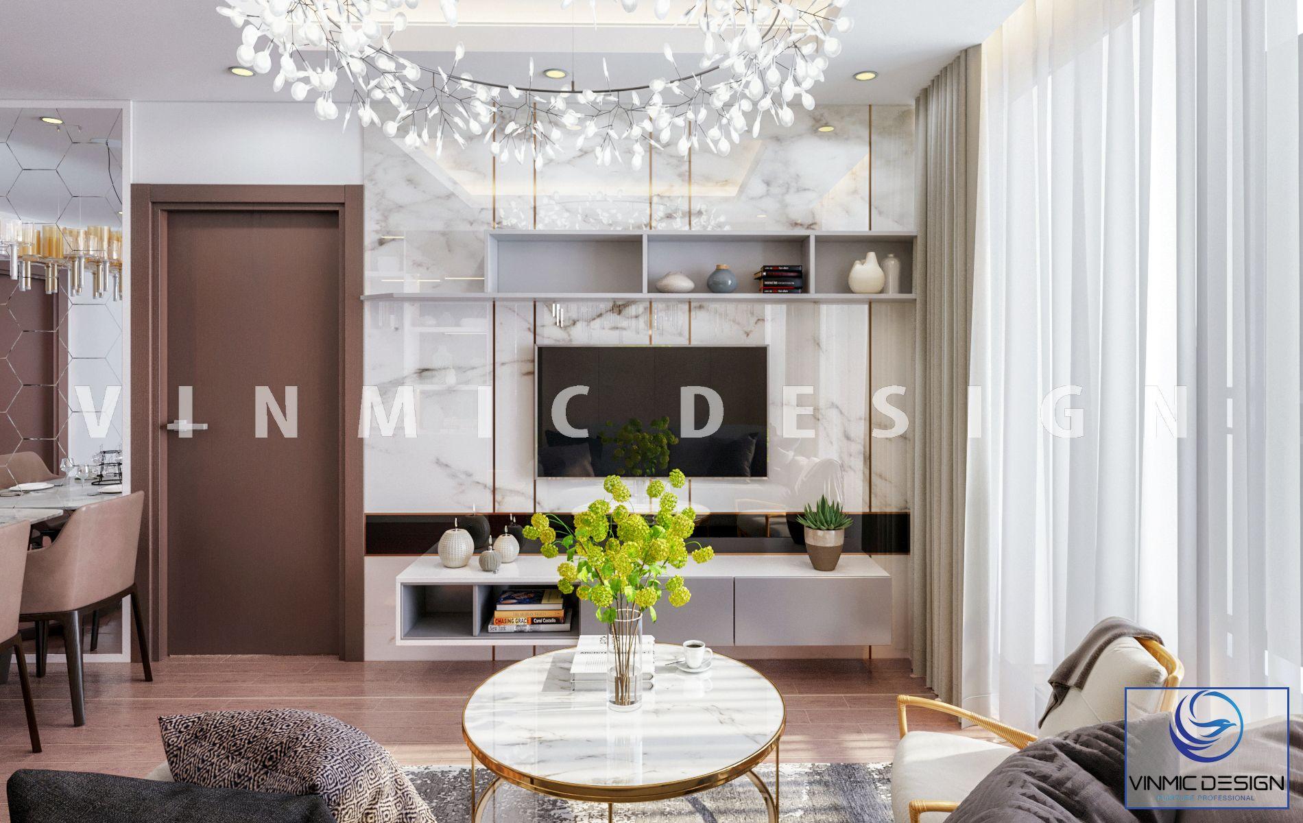 Mẫu thiết kế kệ tivi kết hợp tủ hốc trang trí đồ nội thất và đồ nội thất hài hòa