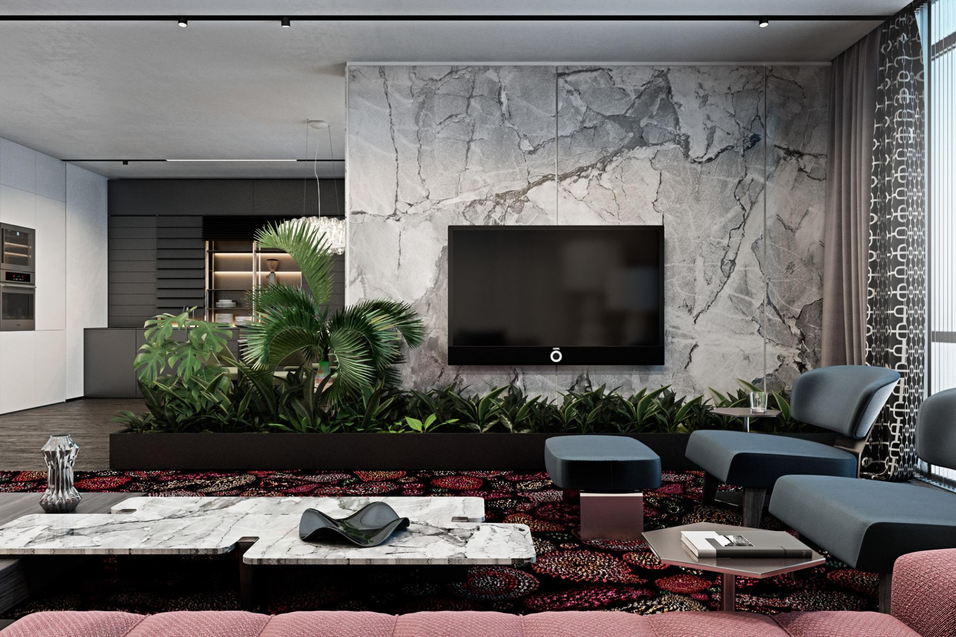 Thiết kế hệ thống cây cảnh thay kệ tivi làm phòng khách trở nên gần gũi với thiên nhiên hơn
