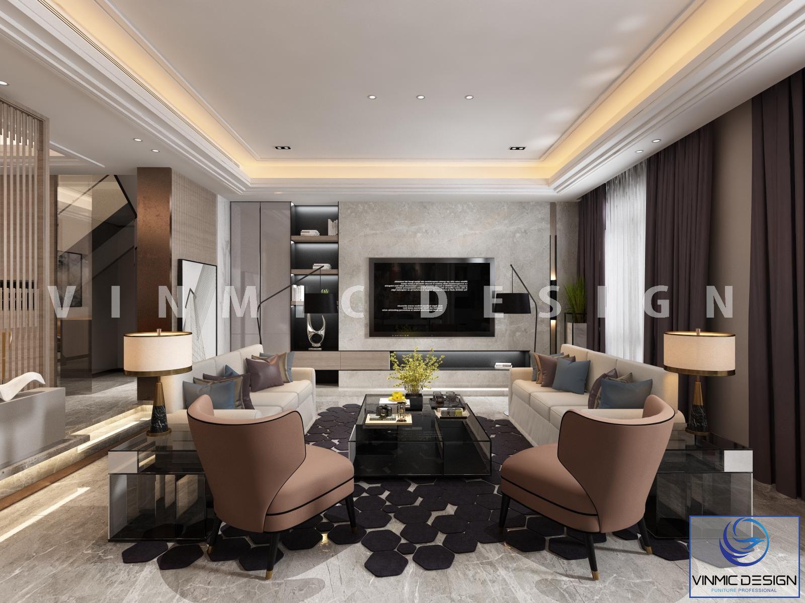 Thiết kế kệ tivi kết hợp tủ đồ và trang trí nội thất hiện đại tại biệt thự tại Nam Định