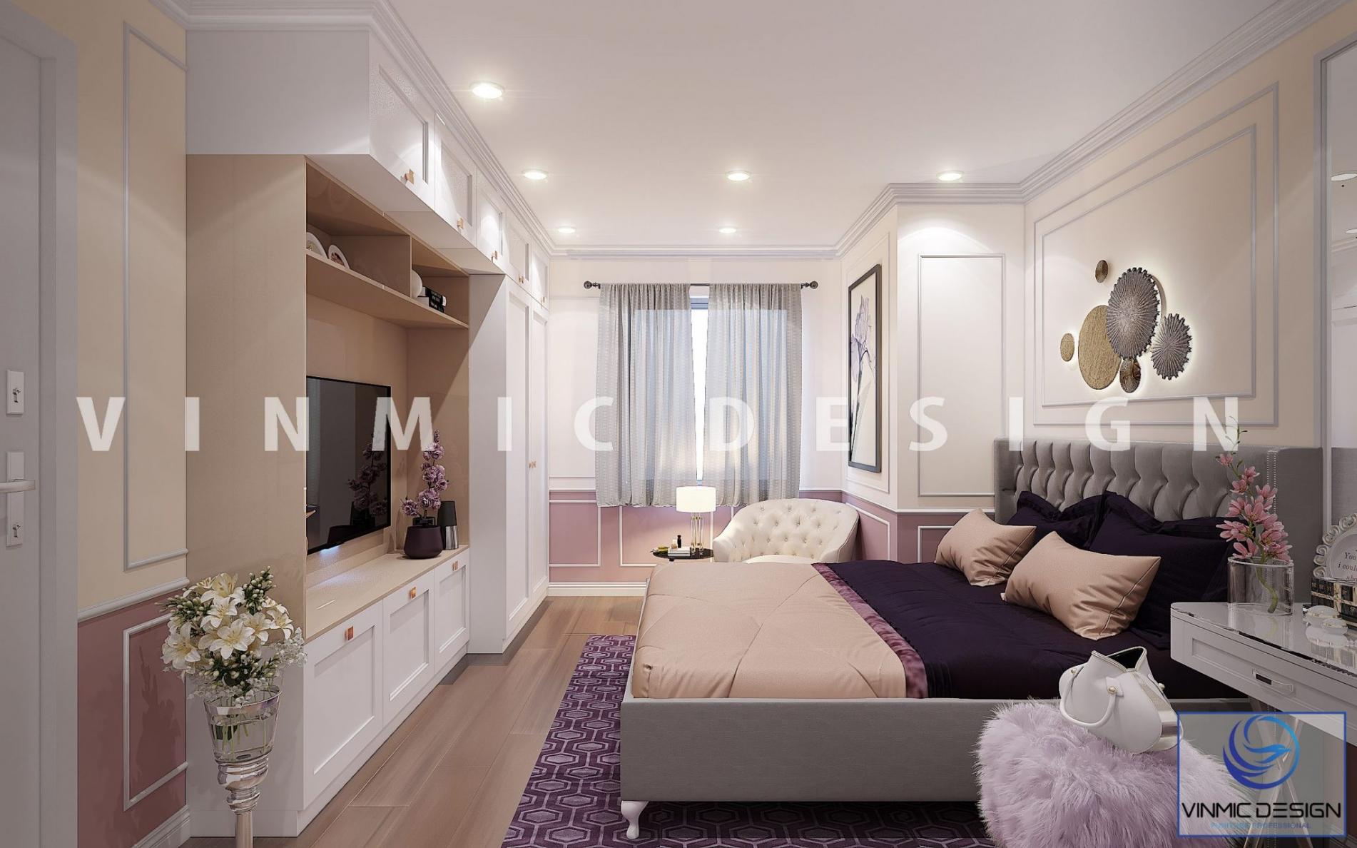 Thiết kế kệ tivi cho phòng ngủ cho cô nàng sang chảnh