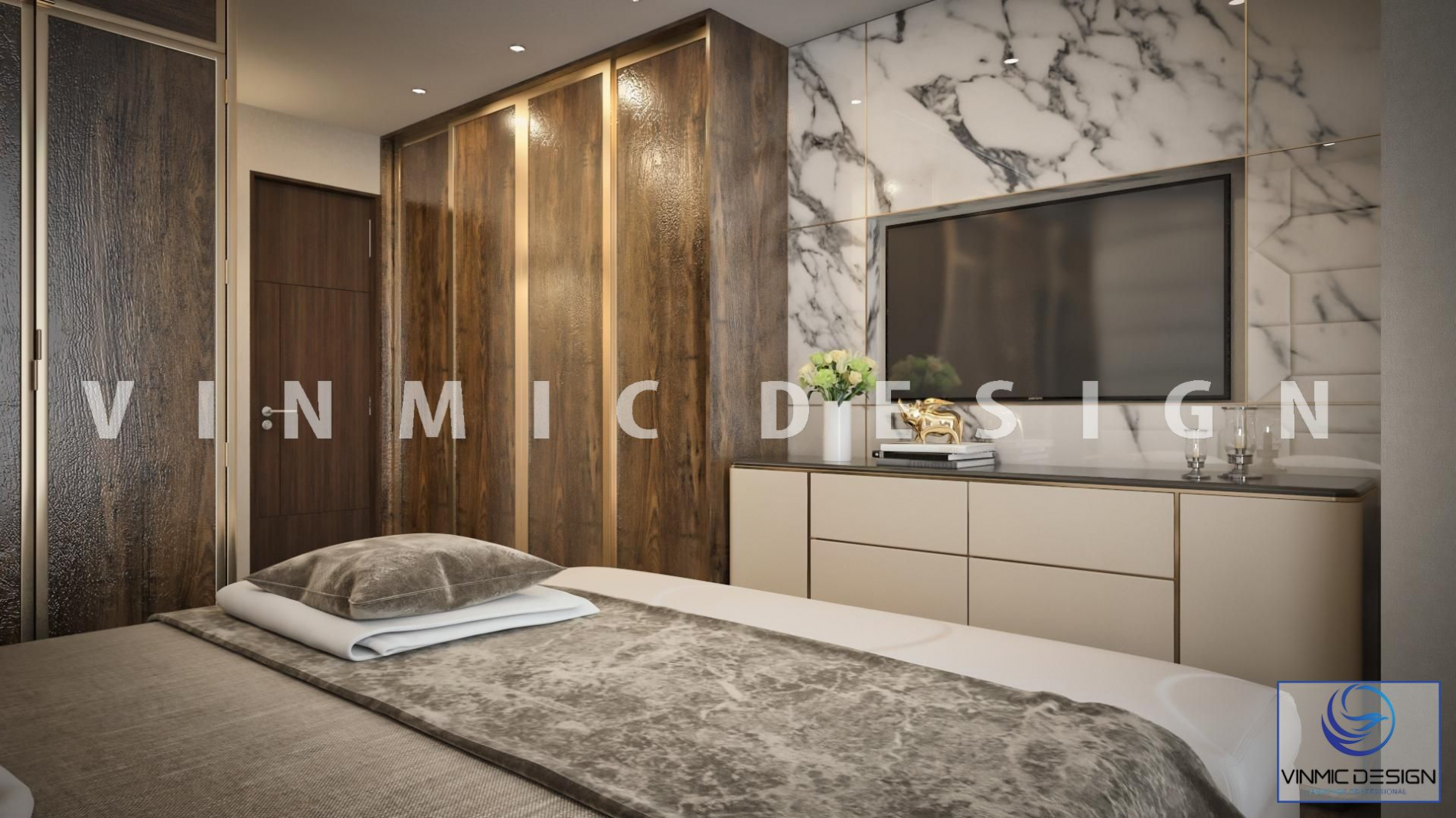 Thiết kế kệ tivi cho căn phòng ngủ có diện tích nhỏ nhưng vẫn toát lên vẻ đặc biệt khi kết hợp với tủ quần áo bằng gỗ công nghiệp bề mặt sáng bóng
