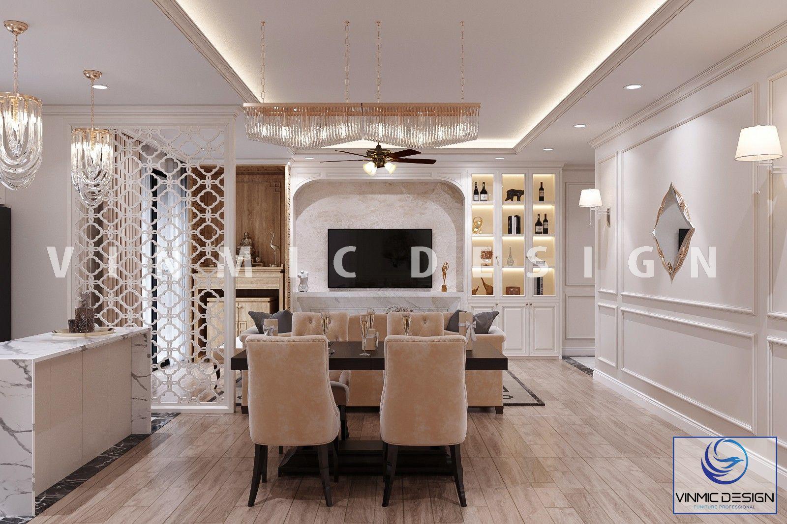 Kệ tivi tone màu trắng kết hợp tủ rượu sang trọng tại chung cư Vinhomes Ocean Park