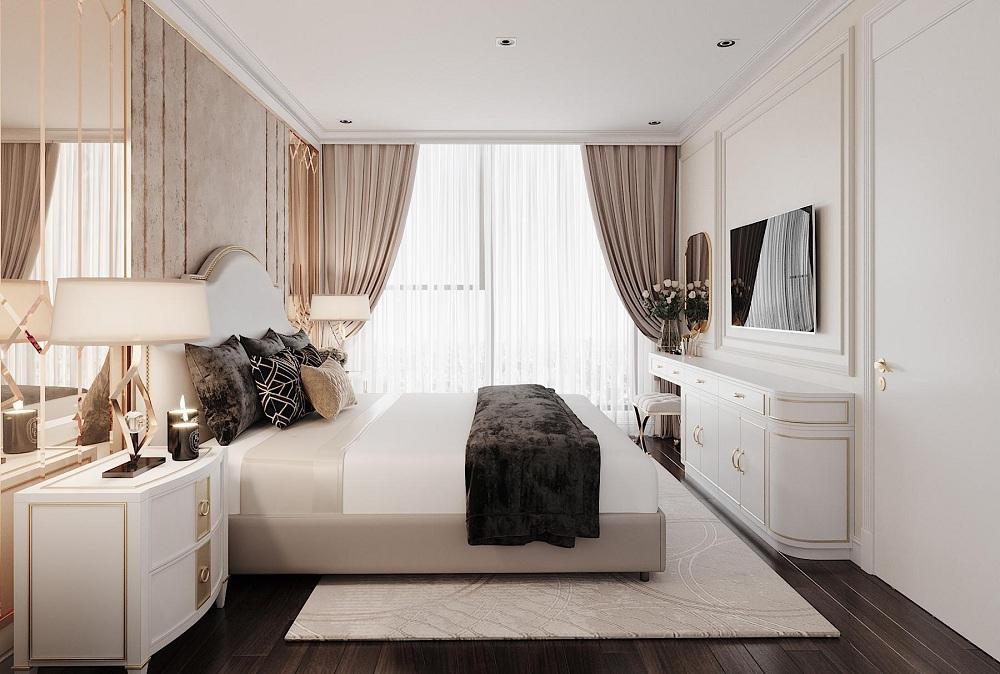 Thiết kế kệ tivi phong cách Tân cổ điển với tay nắm mạ vàng cho phòng ngủ thêm sang trọng