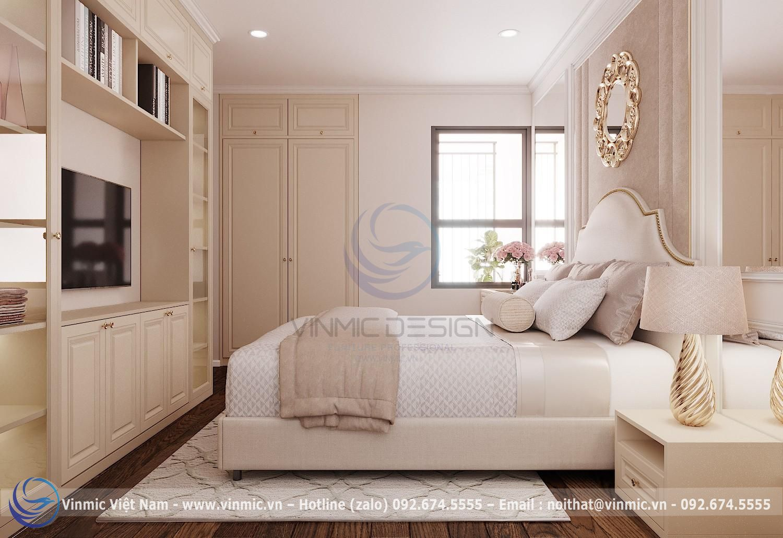 Kệ tivi kết hợp tủ nhiều ngăn để có thể trang trí và tối ưu công năng cho phòng ngủ Tân cổ điển