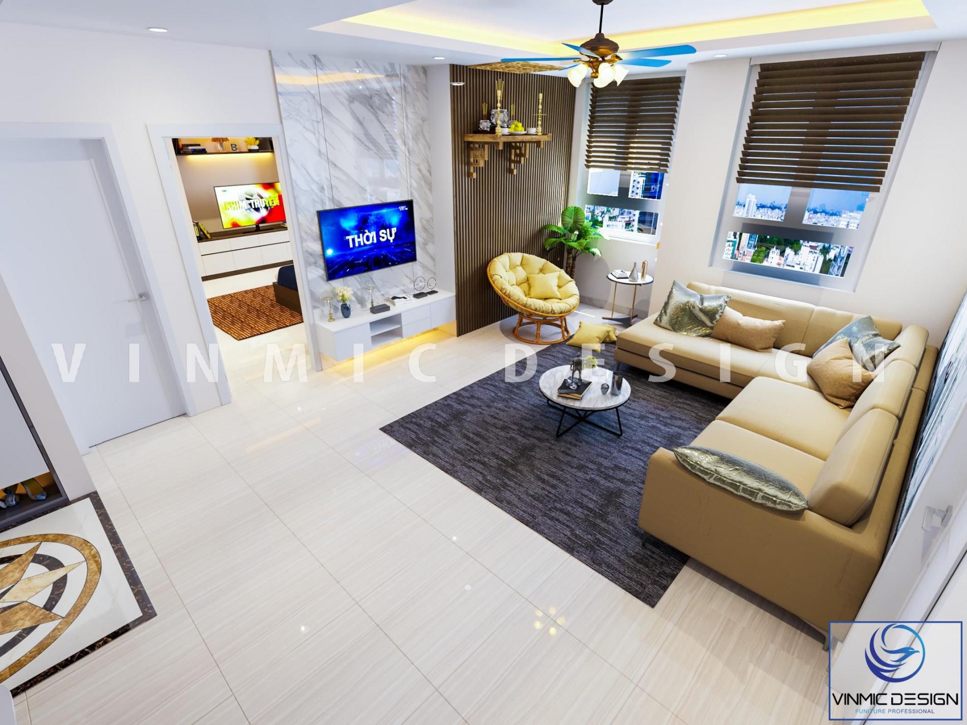 Thiết kế nội thất phòng hiện đại, nổi bật với bộ sofa da màu vàng trên nền tone trắng, lối thiết kế hài hòa