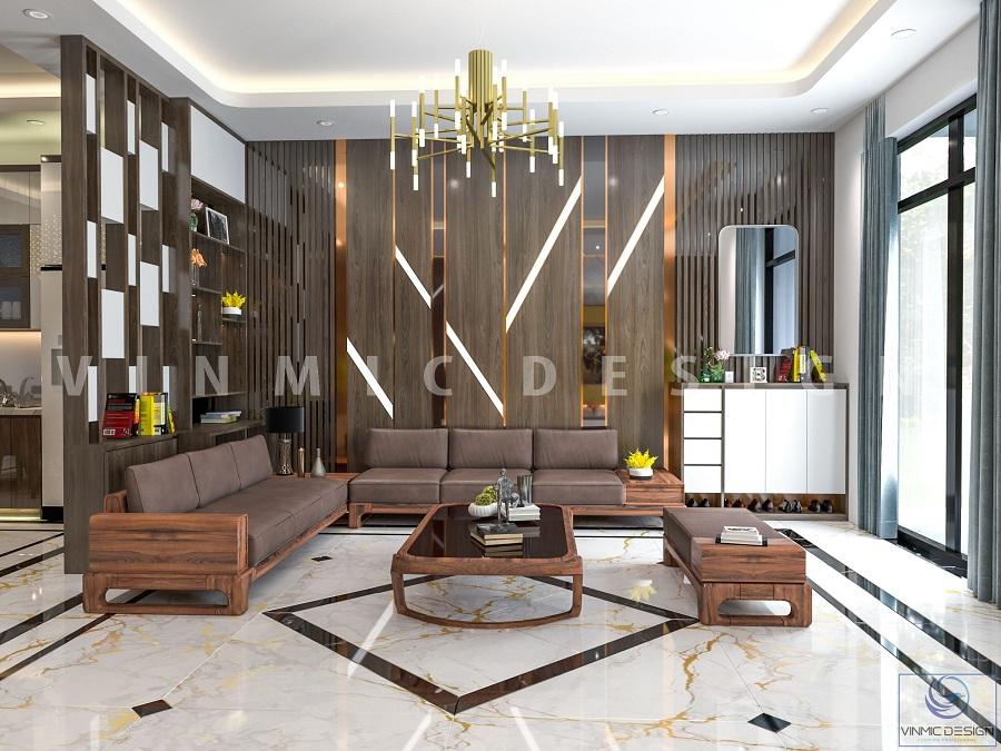 Thiết kế nội thất phòng khách với bộ bàn ghế óc chó sang trọng, tinh tế tại biệt thự Vinhomes Marina Hải Phòng