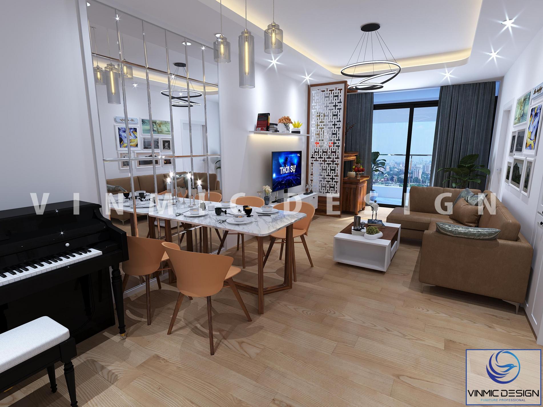 Thiết kế nội thất phòng khách - bếp cho căn hộ có diện tích nhỏ