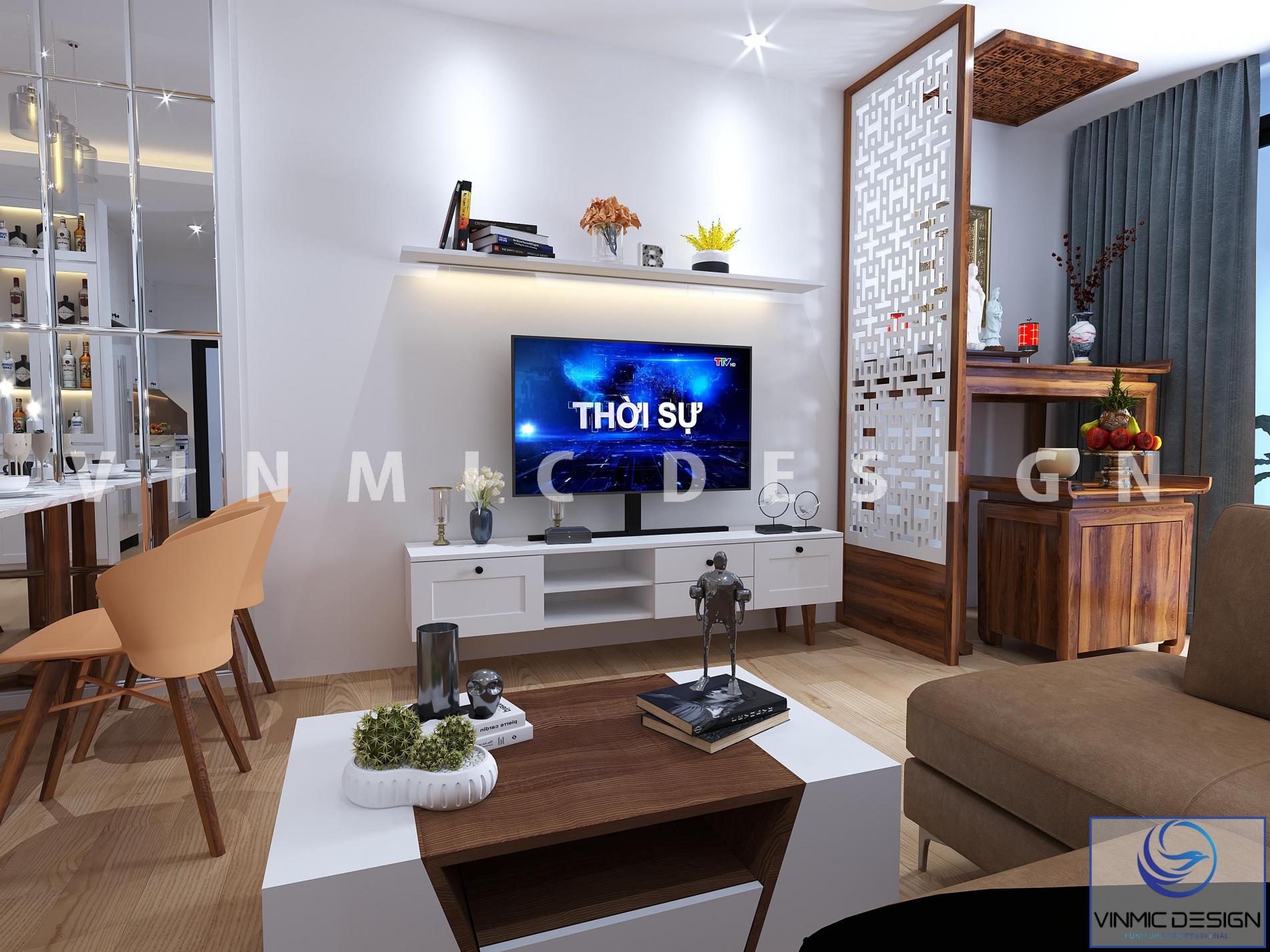 Thiết kế nội thất phòng khách cho căn hộ chung cư nhỏ