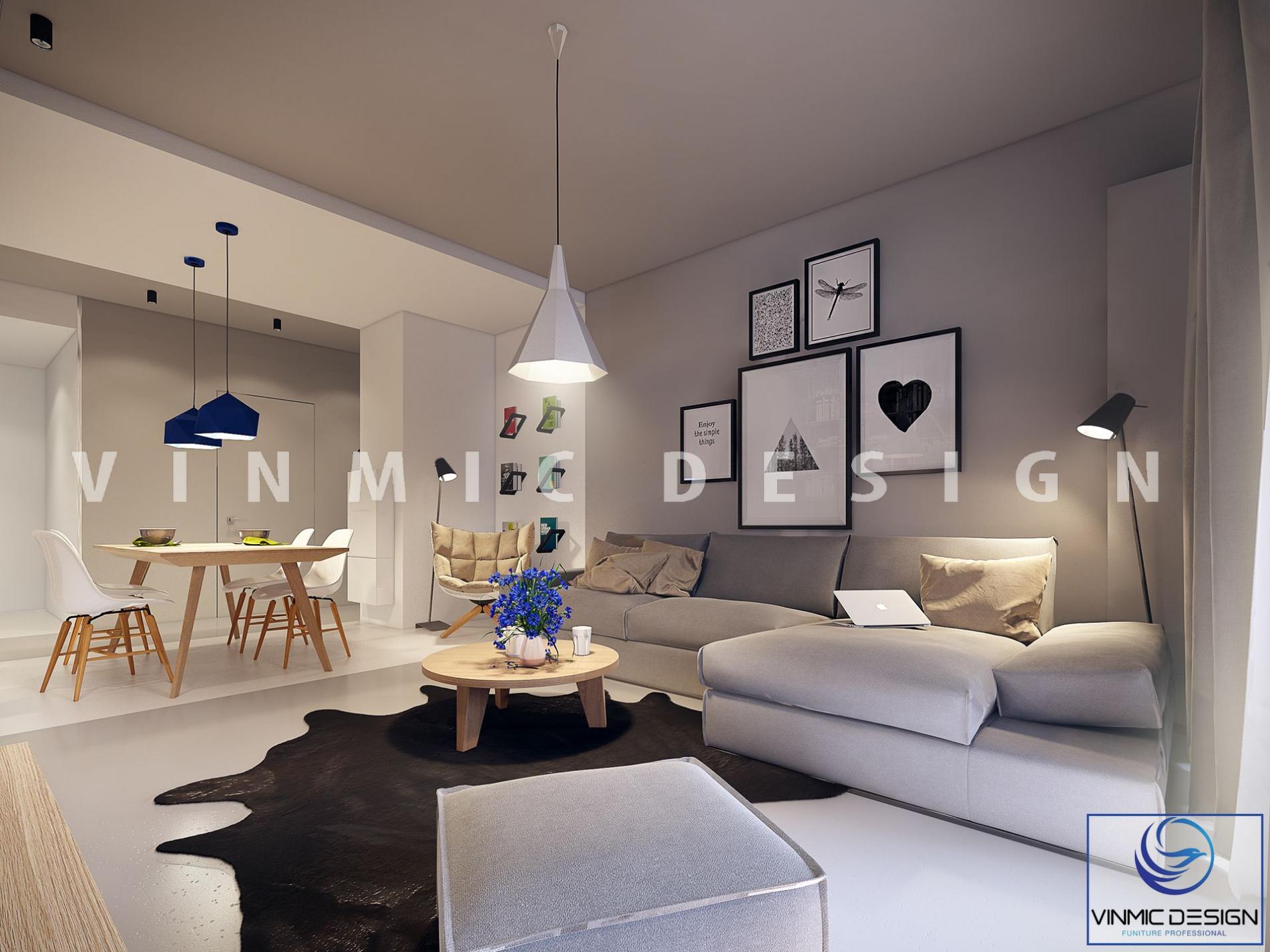 Thiết kế nội thất phòng khách với tone màu xanh dương làm điểm nhấn