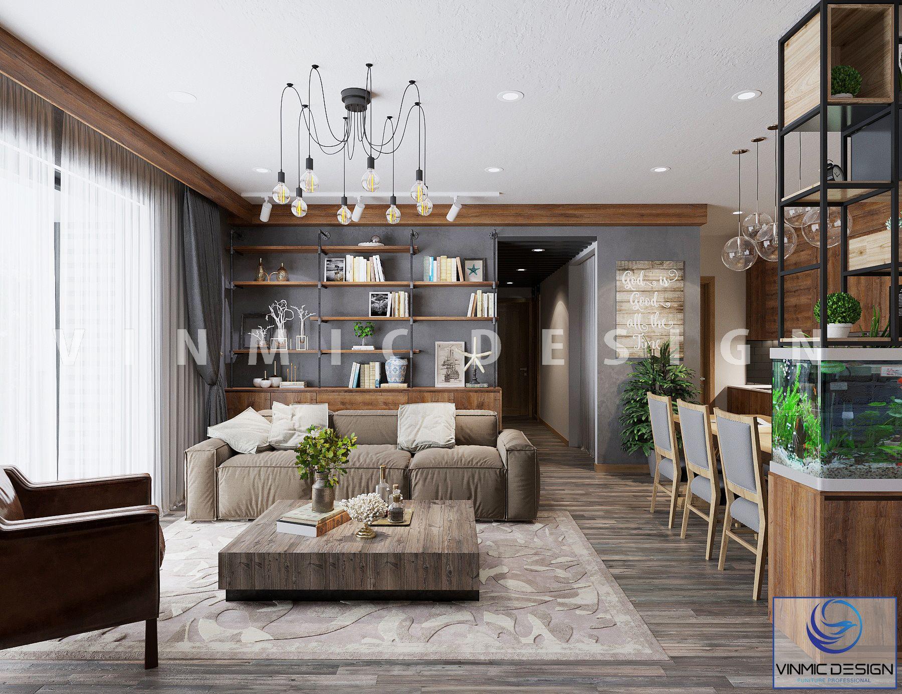 Thiết kế nội thất phòng khách với điểm nhấn gỗ công nghiệp bề mặt Melamine hiện đại