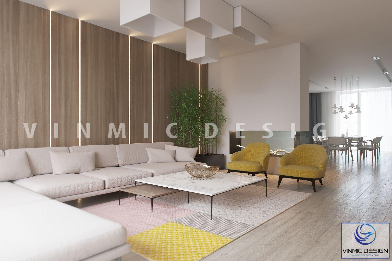Thiết kế nội thất phòng khách thông thoáng, giúp căn hộ của bạn trông rộng rãi hơn