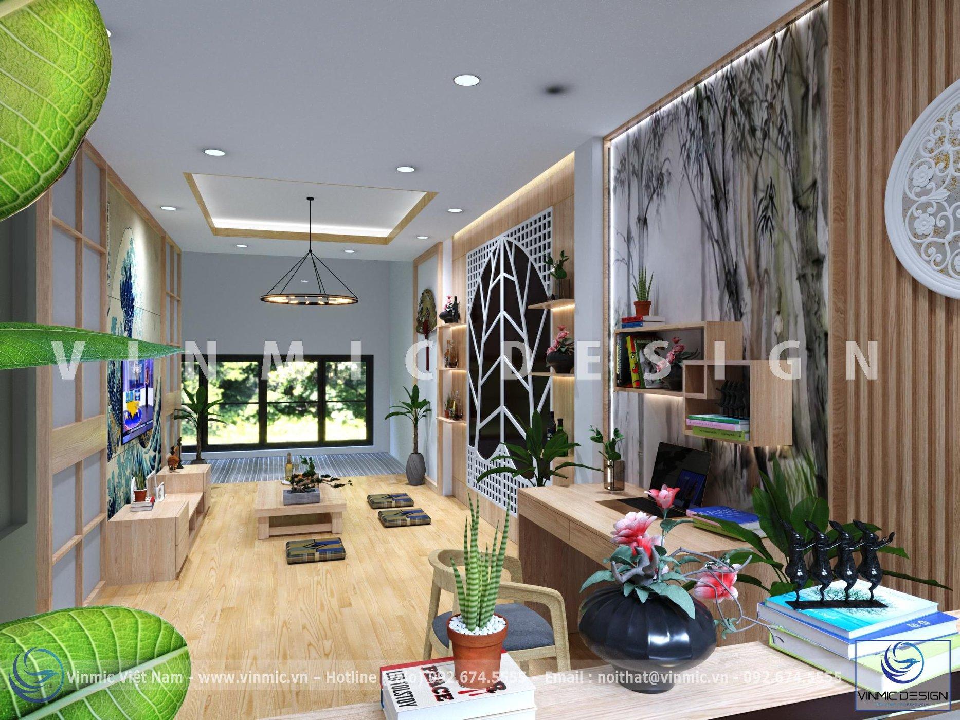 Thiết kế nội thất phòng khách theo phong cách Nhật Bản tại căn hộ Chị Huyền - Đông Anh