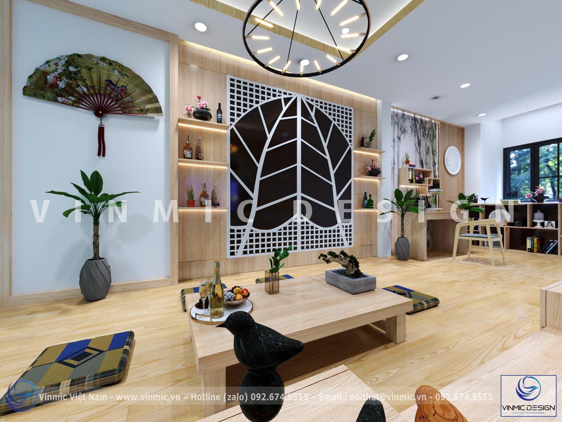 Thiết kế nội thất phòng khách theo phong cách Nhật Bản