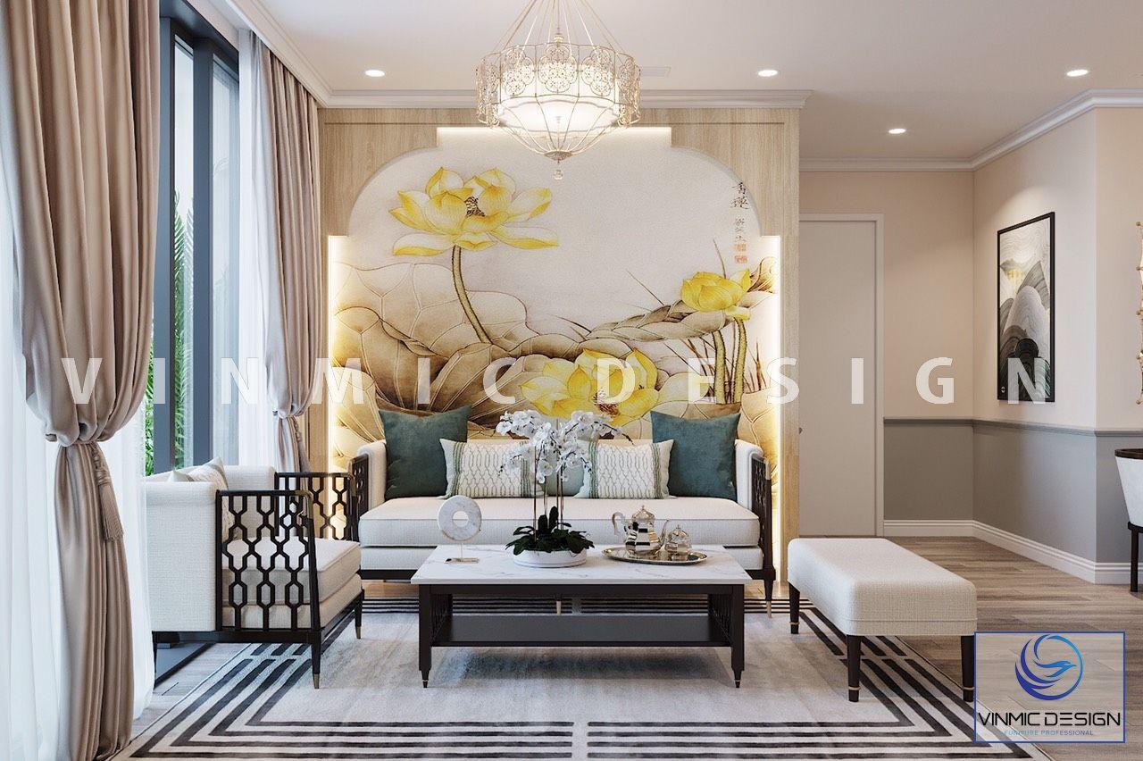 Thiết kế nội thất phòng khách theo phong cách Indochine tại chung cư Vinhomes Ocean Park
