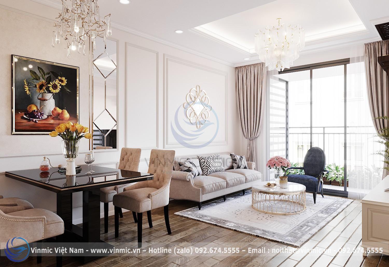 Thiết kế nội thất phòng khách tân cổ điển tại chung cư D'Capitale