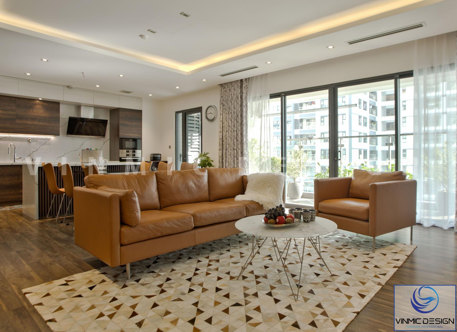 Thi công nội thất phòng khách đẹp với bộ sofa da nổi bật tại chung cư Imperia - Hà Nội