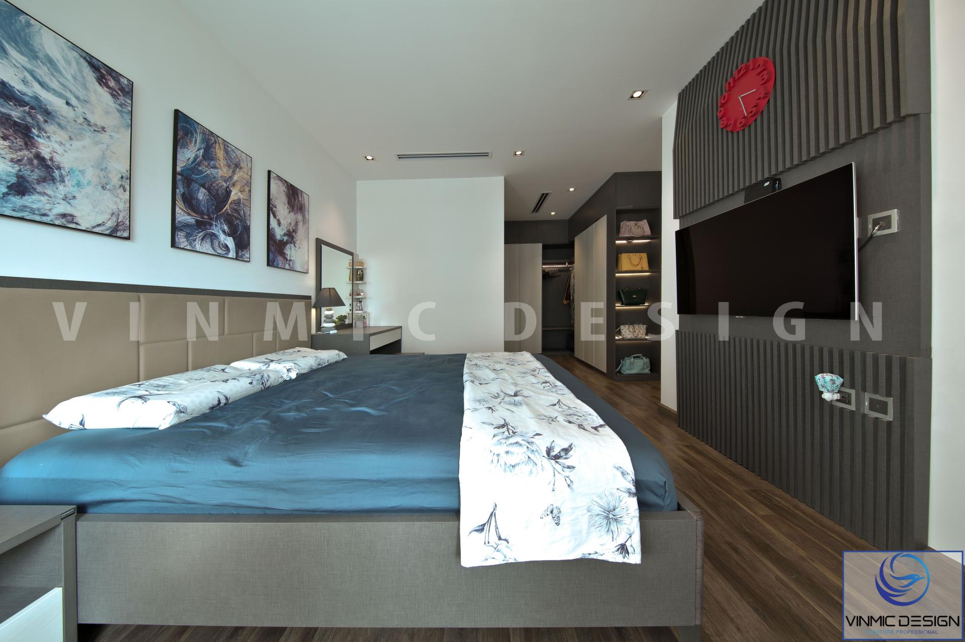 Thi công nội thất phòng ngủ master đẹp tại chung cư Imperia - Hà Nội