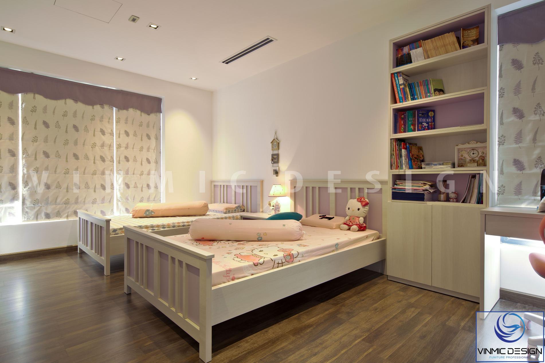 Thi công giường đôi đẹp tại chung cư Imperia Hà Nội