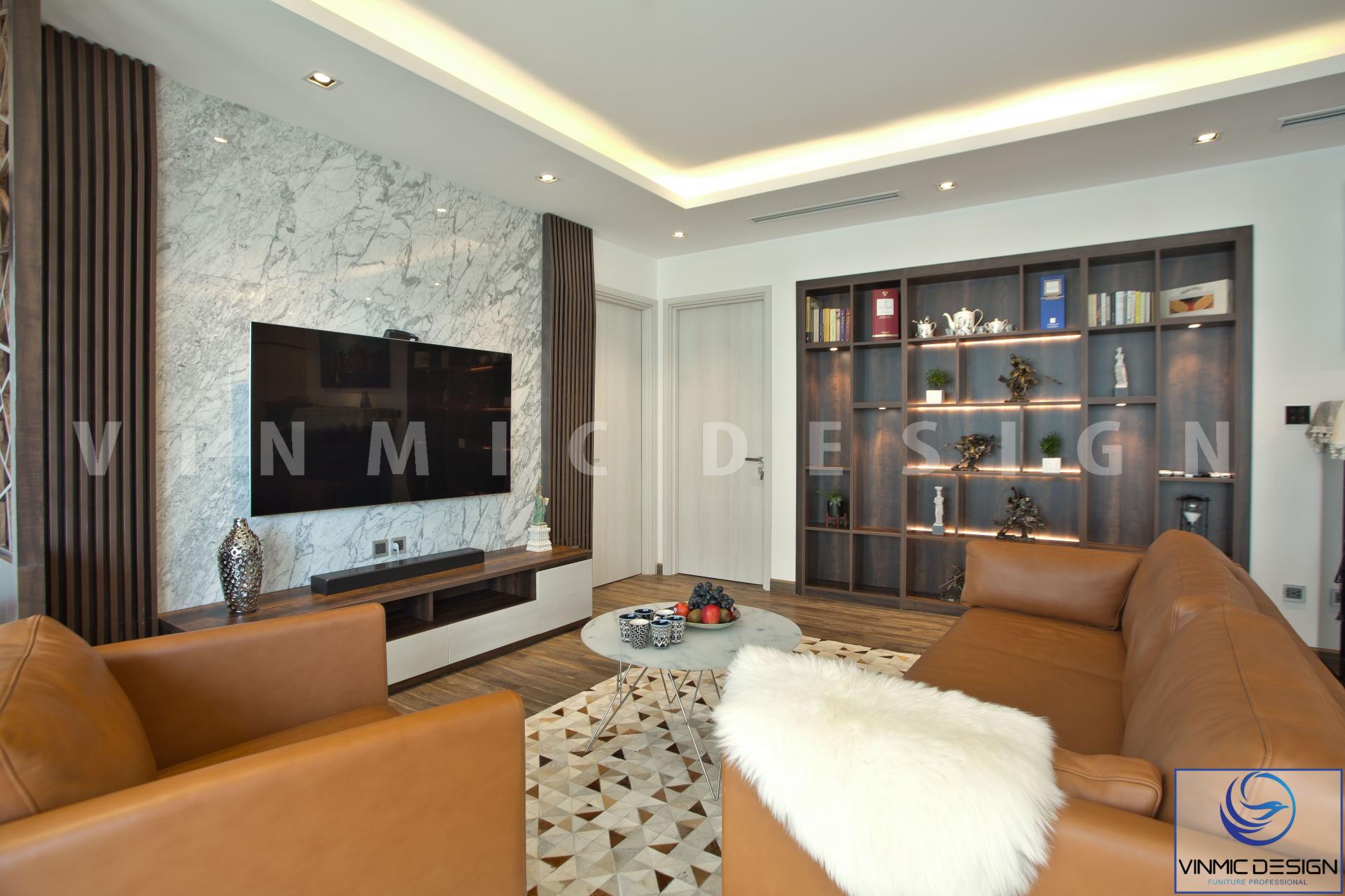 Thi công nội thất phòng khách đẹp tại chung cư Imperia - Hà Nội