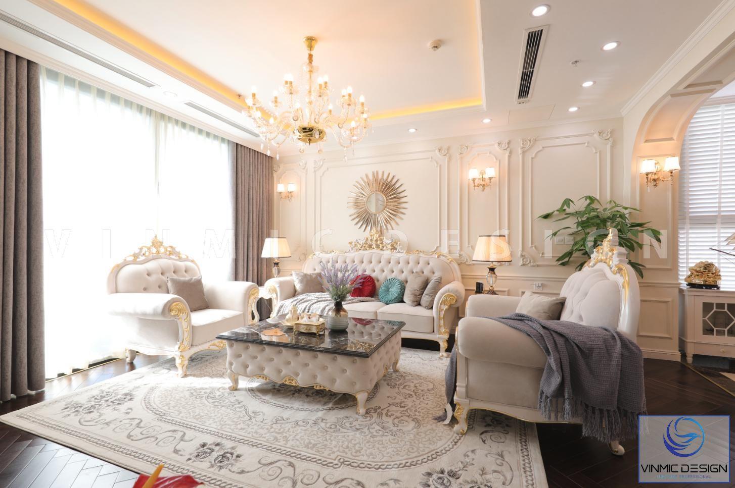 Thi công nội thất với bộ sofa tân cổ điển sang trọng tại biệt thự Vinhomes Green Bay Mộc Lan