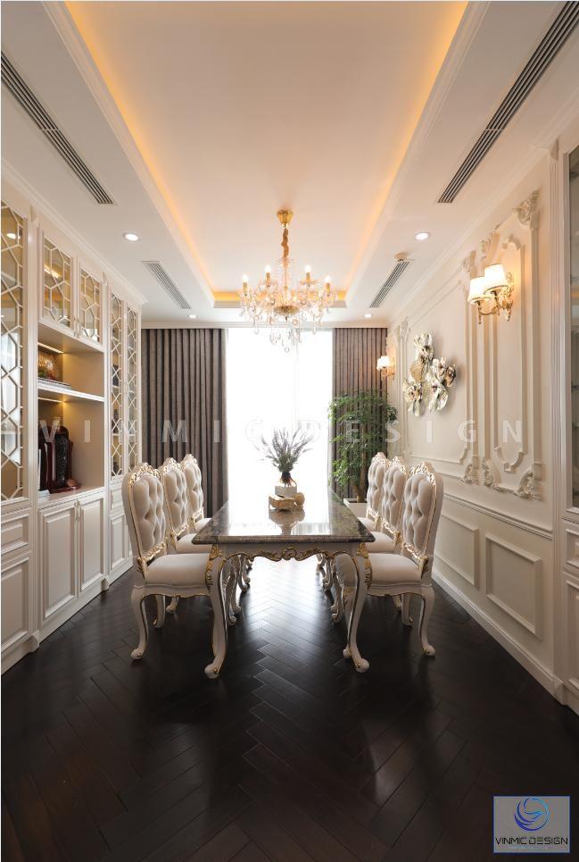 Bộ bàn ăn phong cách tân cổ điển sang trọng, đẳng cấp tại biệt thựu Vinhomes Green Bay - Mộc Lan