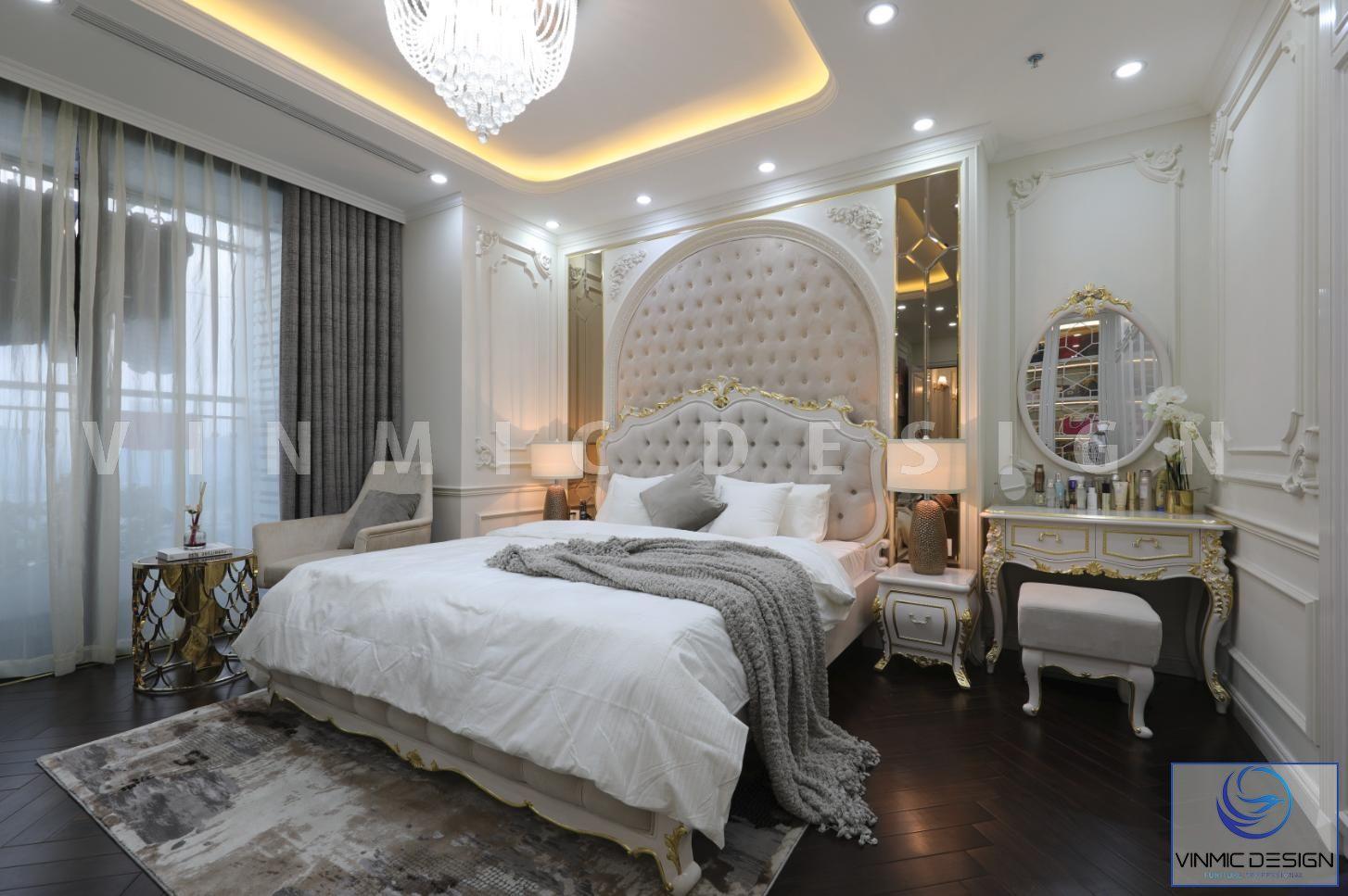 Phòng ngủ phong cách tân cổ điển đẹp tại biệt thự Vinhomes Green Bay - Mộc Lan