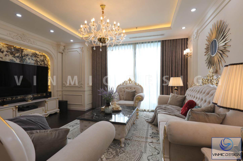 Thi công nội thất phòng khách đẹp tại biệt thự Vinhomes Green Bay Mộc Lan